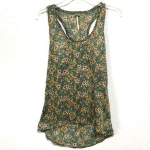 Free People Green Floral Racerback Hi-low Tank Top